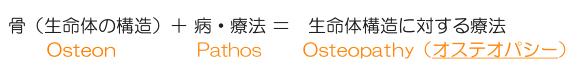 骨(生命体の構造)+病・療法=生命体構造に対する療法Osteon+Pathos=Osteopathy