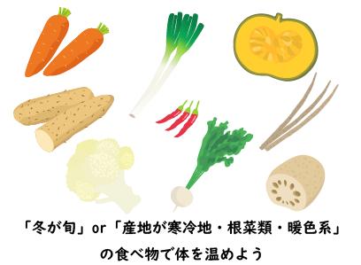 冬が旬or産地が寒冷地・根菜類・暖色系 の食べ物で体を温めよう