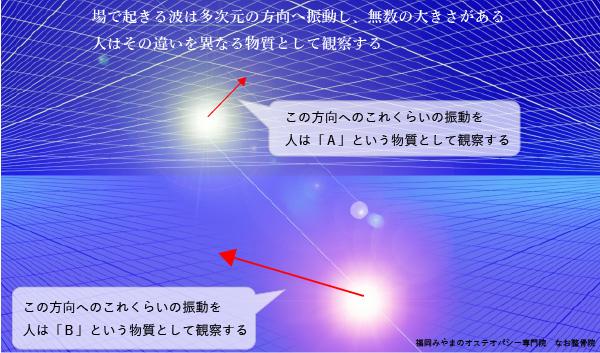 振動の違いと観察される物質のイメージ